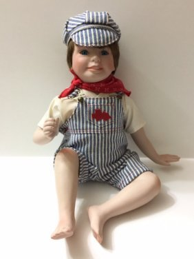 Danbury Mint Porcelain Train Conductor Baby Doll