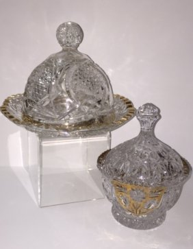 Lot Of 2 Vintage Large Gilded Cut Crystal Pieces