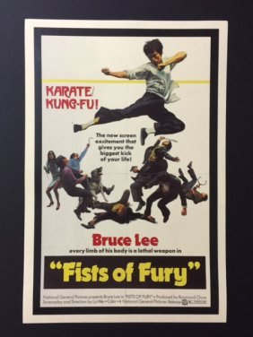 Bruce Lee Fists Of Fury Movie Theatre Lobby Poster