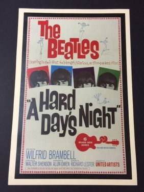 Beatles In A Hard Day's Night Theatre Lobby Poster
