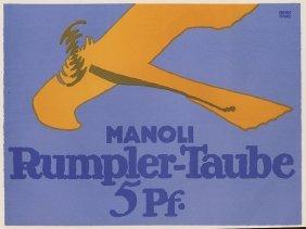 Manoli Rumpler-taube Cigarette German Lithograph 1912