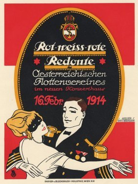 Rot-weiss-rote Antique Poster Naval Ball Austria
