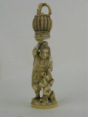 Japanese Carved Ivory And Shibayama Figure Of A Ma