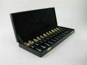 Set Of Twelve Austrian Sterling Silver And Enameled