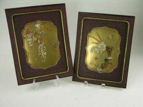 Pair Of Japanese Shibayama Panels, Gold And Red Lac