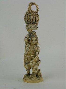 Japanese Carved Ivory And Shibayama Figure Of A Man