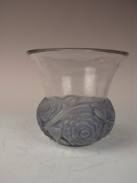 "Rene Lalique ""Renoncules"" Vase In A Light Green Gl"