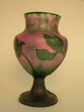 A Very Rare Daum Nancy Cameo Vase With A Hammered
