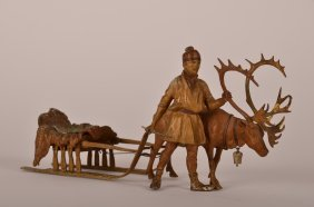 Bergman Bronze Figure Of A Fisher With His Elk Pul