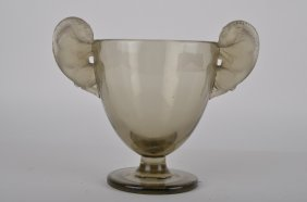 """Rene Lalique """"beliers"""" A Very Rare Vase In Topaz"""