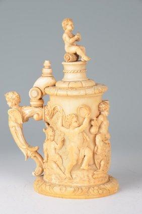 18 Century Carved European Tankard.