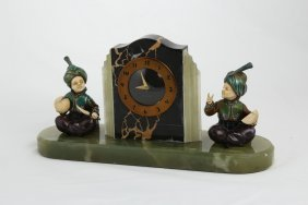 Prof. Otto Poertzel Clock With Two Figures.