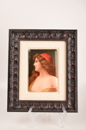 German Porcelain Plaque Of A Beautiful Lady