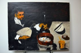 Oil On Canvas Of A Man Cooking. Signed R. Calvert