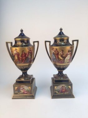 Pair Of Royal Vienna Painted Porcelain Urns With