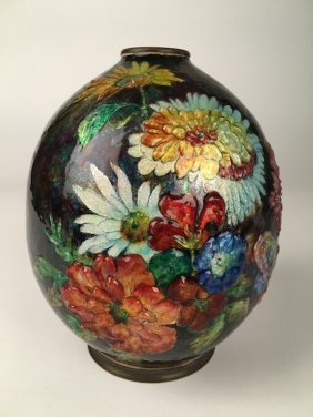 Camille Faurelimoges Enamelled Vase With Flowers All