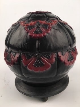 G. Argy Rousseau Pate De Verre Boudoir Lamp Decorated