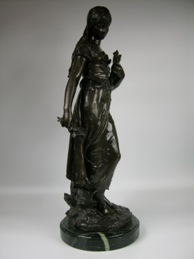 A Bronze Figure Of A Lady With A Mandolin, After