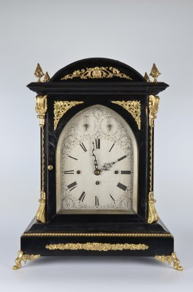 English Double Fusee Eight Bell Bracket Clock,