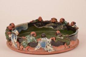 Japanese Sumida Gawa Bowl With 10 Figures Around The
