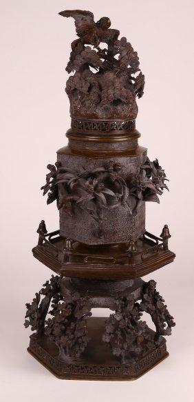 Meji Period Bronze Three Piece Bronze.