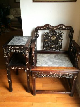 Antique Rosewood/mother Of Pearl Chair And Stand