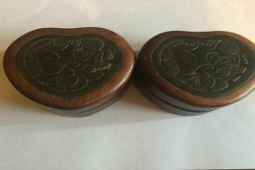 Antique Rosewood Ink Box 2pcs