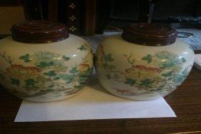 Antique Pair Of Ginger Jars