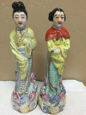 2 Old Porcelain Statues