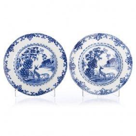 Pair Of Plates With Deer Yongzheng / Qianlong