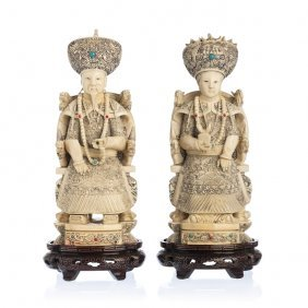 Pair Of Chinese Emperors In Ivory