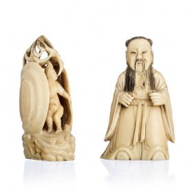 Two Chineses Figures In Ivory