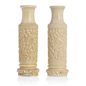 Pair Of Chinese Vases In Ivory