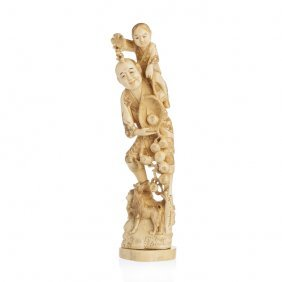 Okimono 'elder With Child' In Ivory