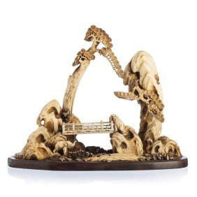 Sculptural Group With Elephants In Ivory