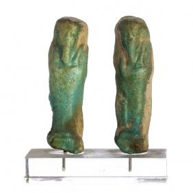 Shauabti / Ushabti Two Sculptures In Egyptian Ceramic