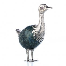 Luiz Ferreira (1909-1994) - Ostrich In Silver