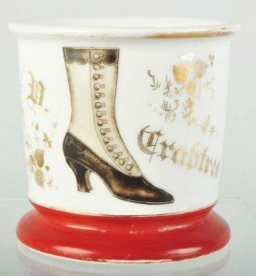 Ladies High Button Shoe Shaving Mug.