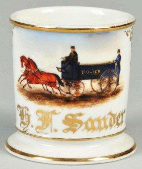 Double Horse-Drawn Police Wagon Shaving Mug.