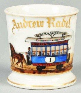 Double Horse-Drawn Trolley Shaving Mug.