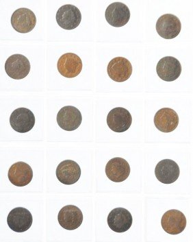 Lot Of 40: Large Cent Coins.