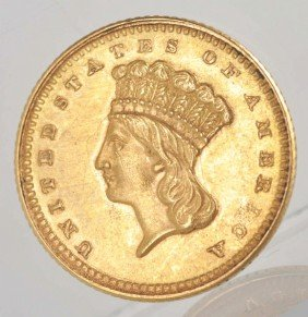 1861 Indian Head Large Head Gold  Dollar AU+.