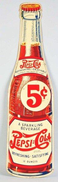 Tin Pepsi-Cola Bottle Cutout Sign.