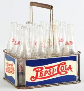 Pepsi-Cola 12-Pack Carrier With Bottles.