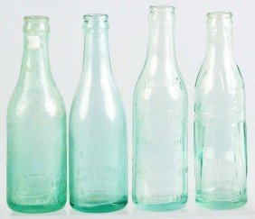 Lot Of 4: Pepsi-Cola Straight Sided Bottles.
