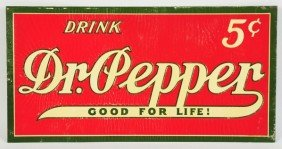 Embossed Tin Dr. Pepper Sign.