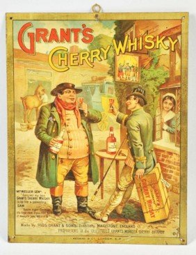 Tin Grant's Cherry Whiskey Sign.