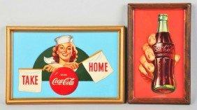Lot Of 2: Cardboard Coca-Cola Cutouts.