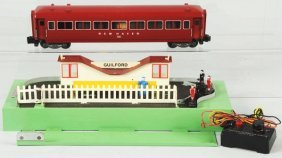 American Flyer Animated Station Platform & Car.