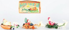 Lot Of 3: Celluloid & Tin Holiday Wind-Up Toys.